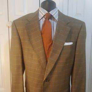 HART SCHAFFNER MARX Tan Checked Blazer Size 42 L